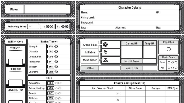 The Best 5e Dungeons and Dragons Character Sheet